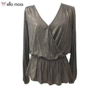 Ella Moss CrossOver V-Neck Peplum Blouse NWT Sz L